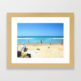 Day At The Beach Looking At The Water Framed Art Print