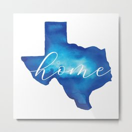 Blue Watercolor Texas Home Metal Print