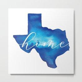 Blue Watercolor Texas Home Metal Print