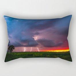 Quad Strike - Lightning Rains Down on the Oklahoma Landscape Rectangular Pillow