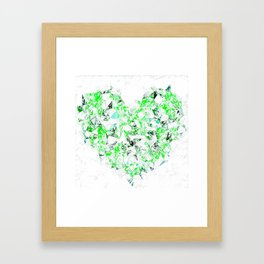 green heart shape abstract with white abstract background Framed Art Print