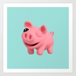 Rosa the Pig winking Art Print