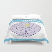 periodic table Duvet Covers featuring Periodic Table of Cute Elements -- Argon by Grace T