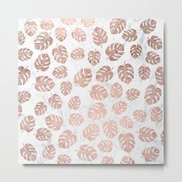 Modern tropical leaf monstera rose gold hand drawn illustration on white marble Metal Print