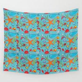 Cute Kids Ocean Sea Life Marine Pattern Wall Tapestry