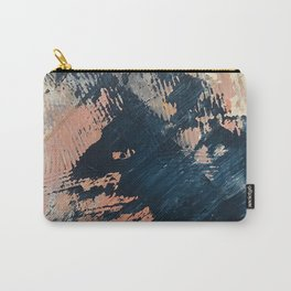 Hidden Gem [3]: an abstract mixed media piece in pink, blue, gold and white Carry-All Pouch