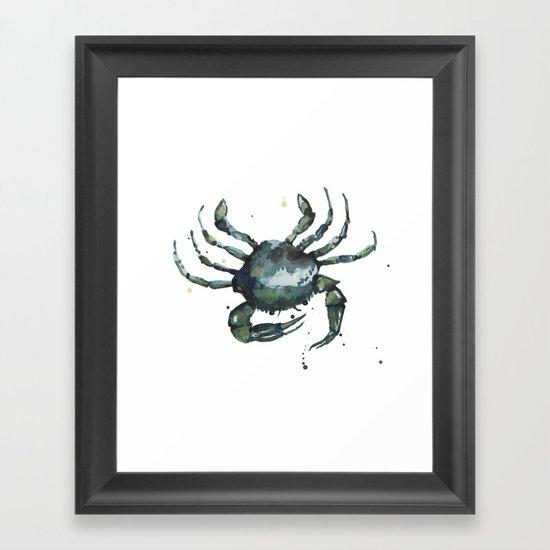 Crab, nautical art, seashore creatures, crab watercolor, natural crab painting, crab pillows,  Framed Art Print