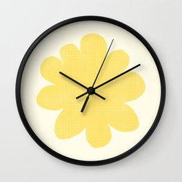 Yellow Flower on Pale Yellow Wall Clock
