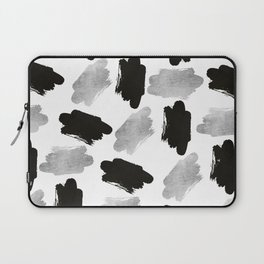 Black faux silver modern abstract brushstrokes Laptop Sleeve