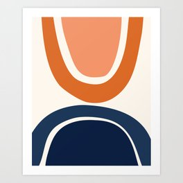 Abstract Shapes 7 in Burnt Orange and Navy Blue Art Print