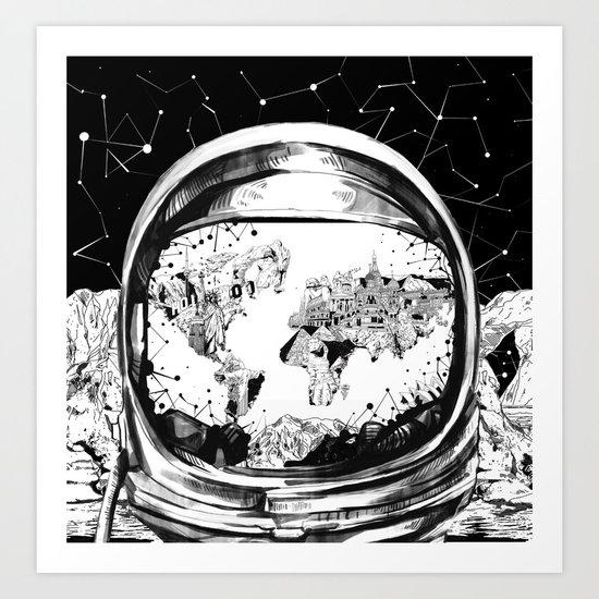 astronaut world map black and white 1 Art Print