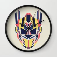 optimus prime Wall Clocks featuring Prime by Fimbis