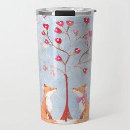 Fox love- foxes animal nature _ Watercolor illustration Travel Mug