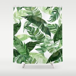 Green leaf watercolor pattern Shower Curtain