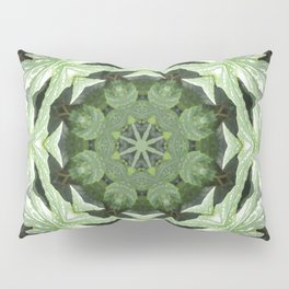 Tropical Twist - Green Leaves Kaleidoscope, Mandala Pillow Sham
