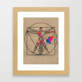 Vitruvian Man and a Burst of Color Framed Art Print