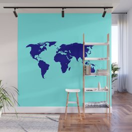 World Silhouette In Blue Wall Mural