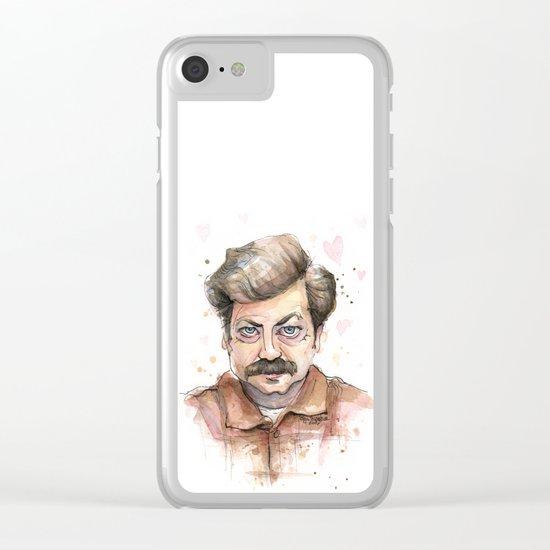 Swanson Love Valentine Portrait Clear iPhone Case