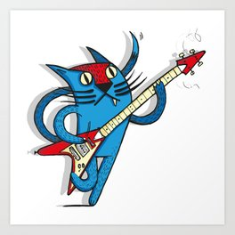 Cat's love to rock Art Print