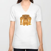 furry V-neck T-shirts featuring Furry Ape by Yay Paul