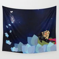 swimming Wall Tapestries featuring swimming by HanadaCreations