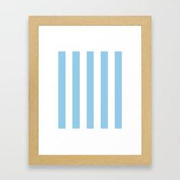 Light cornflower blue - solid color - white vertical lines pattern Framed Art Print