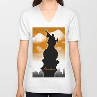 barcelona V-neck T-shirts featuring Barcelona  by WIGEGA