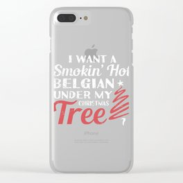 Smokin' Hot Belgian Under Christmas Tree Clear iPhone Case