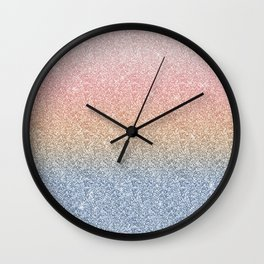 Girly Blush Rose Gold Blue Ombre Glitter Sparkles Wall Clock