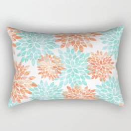 aqua and coral flowers Rectangular Pillow