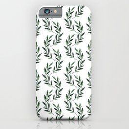 Watercolor Greenery Pattern iPhone Case