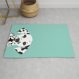 Dalmatian cute puppy dog black and white mint pastel gender neutral pet owner gifts love animals Rug