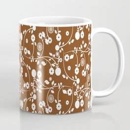 Chocolate Brown Floral Pattern Coffee Mug