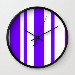 Mixed Vertical Stripes - White and Indigo Violet Wall Clock