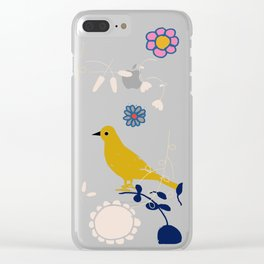 Bird and blossom electric blue Clear iPhone Case