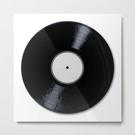 White Record Label Metal Print