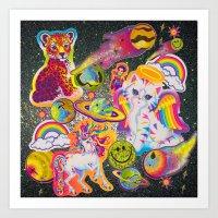 sticker Art Prints featuring Sticker Bomb by jajoão