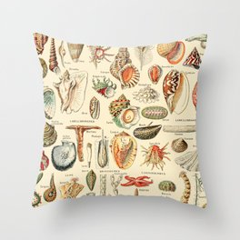 Seashell Diagram // Mollusques by Adolphe Millot XL 19th Century Science Textbook Artwork Throw Pillow