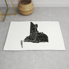 New York Black Map Rug