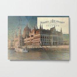 Budapest Travel Map Metal Print