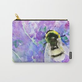 Bumblebee and Lavender Flowers Herbal Bee Honey Purple Floral design Carry-All Pouch