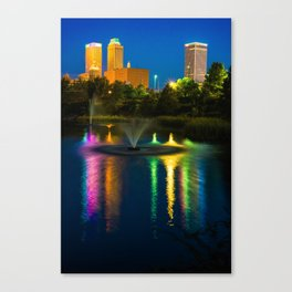 Tulsa Downtown Skyline - Bold Color Canvas Print