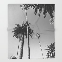Palm Trees (Black and White) Throw Blanket