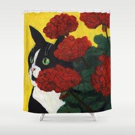 Cat Amongst The Geraniums 4 Shower Curtain