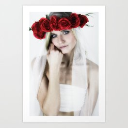 woman with a rose crown ll. Art Print