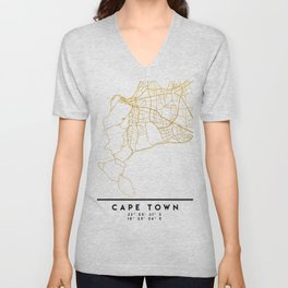 CAPE TOWN SOUTH AFRICA CITY STREET MAP ART Unisex V-Neck