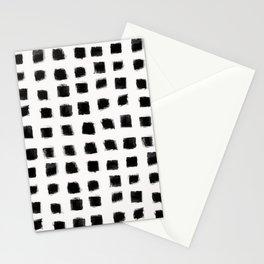 Polka Strokes - Black on Off White Stationery Cards