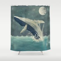 swimming Shower Curtains featuring night swimming by bri.buckley