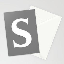 S MONOGRAM (WHITE & GRAY) Stationery Cards