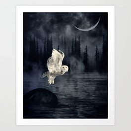 The owl and her mystical moon Art Print